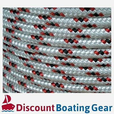 6mm Double Braid Polyester Sailing Rope | 100m White & Red Quality Yacht Rope