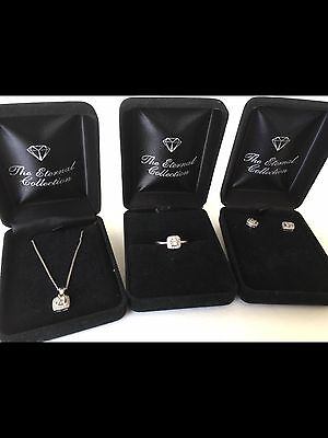 Silver Ring (p) Necklace Earring With Genuine Diamond Set