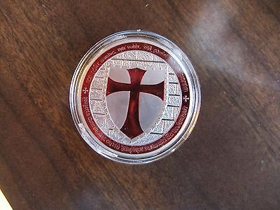 masonic  **   knight   templar   **. silver  plated . encased. RED .