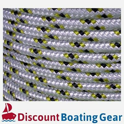 8mm Yacht Rope Double Braid Polyester 100m | White / Gold Flecked Sailing Rope