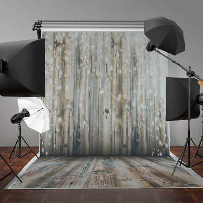 3x5FT Bright White Dots Wood Wall Floor Photography Backdrop Photo Background