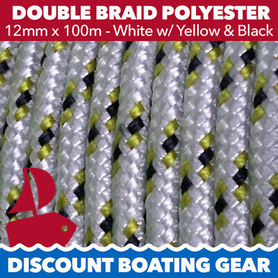 12mm Double Braid Polyester Yacht Rope x 100m | White & Gold Sailing Rope