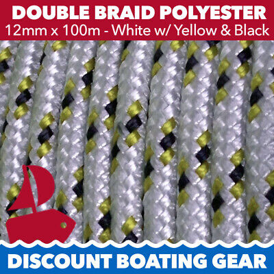 NEW 12mm x 100m Double Braid Polyester Yacht Rope | White & Gold Sailing Rope