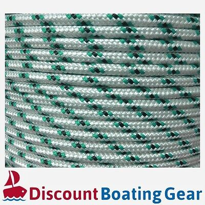 100m x 8mm Boat Rope GREEN BLACK Double Braid Polyester Marine Line Mooring