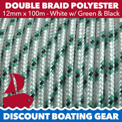 12mm x 100m Double Braid Polyester Yacht Rope White n Green Quality Sailing Rope