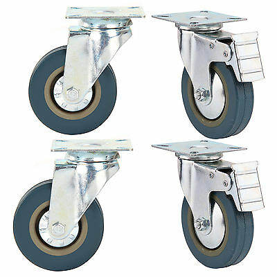 Set of 4 Heavy Duty 100mm Rubber Swivel Castor Wheels Trolley Caster Brake 600KG