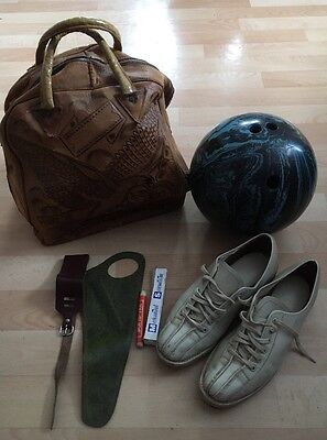 Vintage Bowling Set BRUNSWICK BALL,SHOES,BAG Very Rare And Old