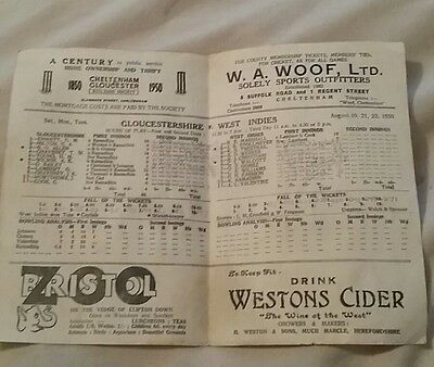 rare cricket programme Gloucestershire V West Indies august 1950
