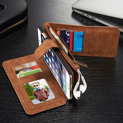 For iPhone 6s 7 8 Plus Luxury Magnetic Leather Removable Wallet Card Case Cover