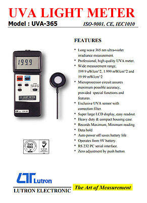 Lutron UVA-365 Professional UV Light Meter With RS232 Interface