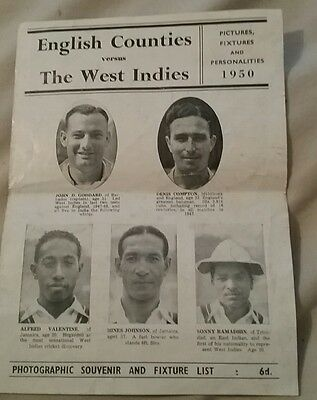 rare cricket programme English Counties V The West Indies 1950.