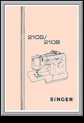 SINGER Models 2106 & 2108  sewing machine instruction Manual Booklet