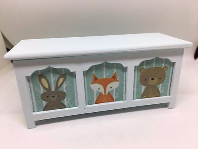 Handmade 1:12th scale miniature dolls house furniture. Nursery blanket box / toy