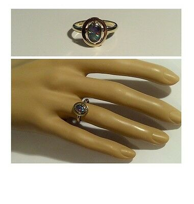 SOLID 9ct Yellow Gold - Stunning Cabochon Cut Opal Triplet Ring - Size J