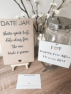 Wedding Or Engagement Date Jar With Signs & Easel