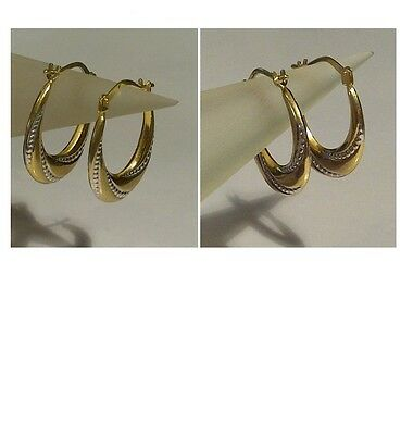 9ct Yellow Gold - Stunning Bead Patterned Oval Hoop Earrings - 2cm Drop