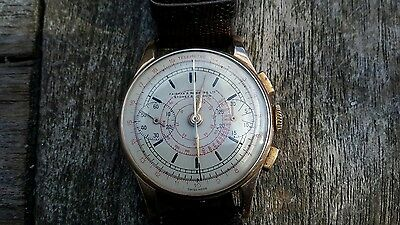 Vintage 18ct solid Rose gold Fairfax & Roberts chronograph with telemetre dial.