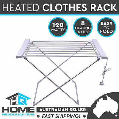 Portable Electric Clothes Dryer Heated Hanger Towel Rail Airer Laundry Rack 120W