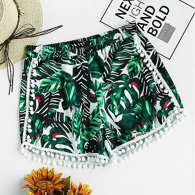 Summer Women Ladie High Waist Casual Floral Beach Hot Pants Shorts UK Size 6-14