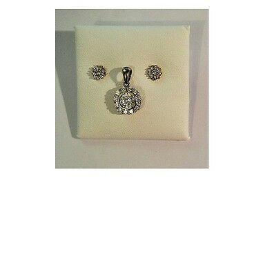 9ct Yellow Gold - Sparkling Clear Stone Cluster Earrings and Pendant Set