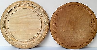 2x Vintage Antique Wooden Wood Carved Bread Boards Kitchenalia Country Kitchen
