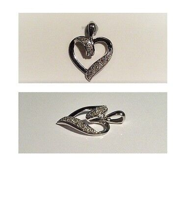 9ct White Gold - Sparkling Angus & Coote Genuine Diamond Heart Pendant - AS NEW