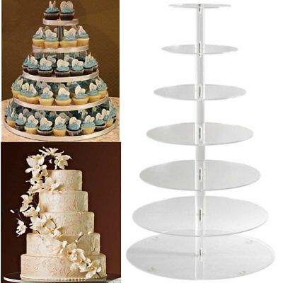 Large 7 Tier Round Clear Acrylic Cupcake Stand Party Wedding Dessert Cake Holder