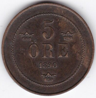 1890 Sweden 5 Ore***Collectors***