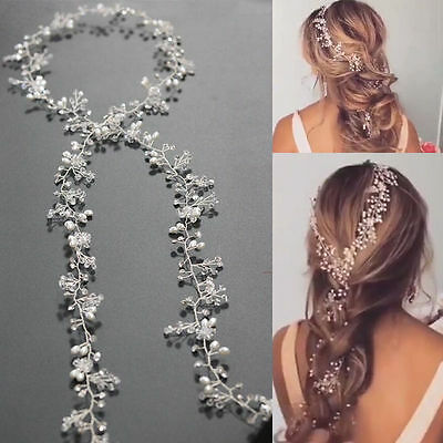 Crystal Pearls Vine Wedding Bridal Hair Diamante Headpiece Wedding Accessories