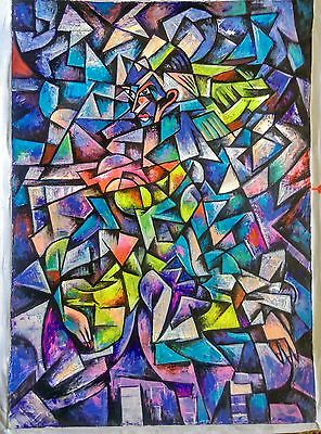 art abstract cubism modern original Painting  no frame