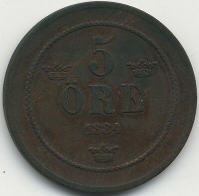 1884 Sweden 5 Ore***High Grade***Collectors***