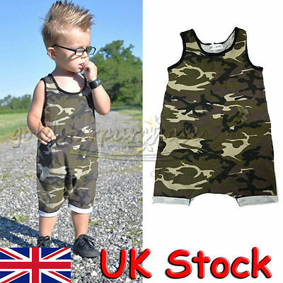 Summer Newborn Baby Boy Camouflage Romper Bodysuit Jumpsuit Outfits Clothes UK