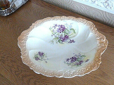 Antique Oval Scalloped Edge Floral Dish Bowl