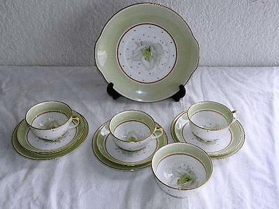 Collectable Vintage Susie Cooper Part Tea Set 11pc 3 trios , cake plate and bowl