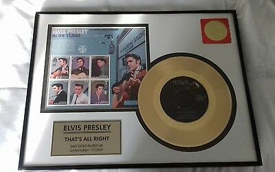 elvis presley 24ct gold framed record with stamps