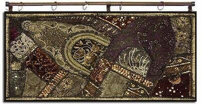 "40"" Exquisite Antique Sari Decor Beadd Sequin Wall Hanging Runner Throw Tapestry"