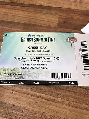 4 Green Day tickets, 1st July at Hyde park, London, cost £293, open to offers