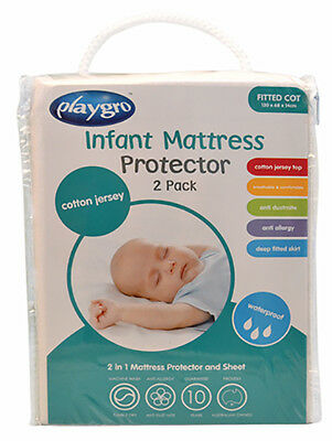 Playgro - 2 Pack Jersey Mattress Protector - Cot