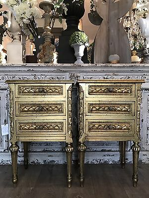 Pair of Gold Gilt French Louis XVI Style Vintage Bedsides Bedside Tables