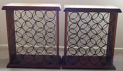 2 timber and metal wine racks