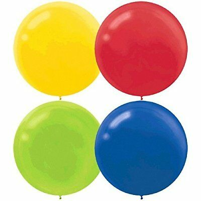 60cm Primary Assortment Latex Balloons Yellow, Red, Lime Green & Royal Blue - Pa