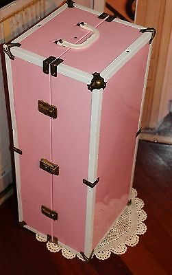 """Sturdy Pink Metal Trunk for American Girl Doll or Other 18"""" Doll, VGC!"""