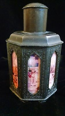 Vintage Asian Chinese tea caddy storage jar 8 glass panels