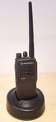 Motorola GP340 VHF Two-Way Radio, with new battery and single charger pod
