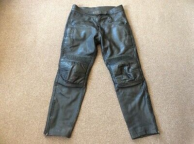 """Mens Skin Black Leather Size 36"""" Waist Motorcycle Trousers"""