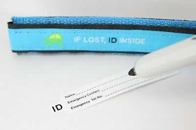 Kids ID Safety Bracelet Children Wristband Hand Strap Walk Travel Anti-Lost Blue