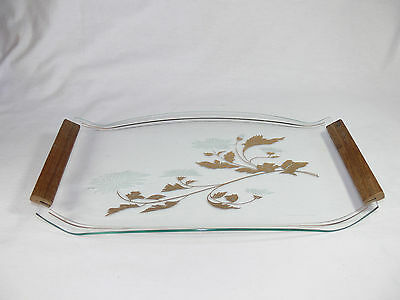 Vintage Floral Design Glass Serving Tray with Wooden Handles - RETRO