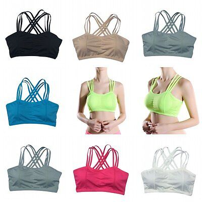Mujeres sports bra Workout Yoga Top Stretch Seamless Racerback acolchado