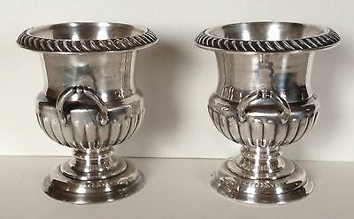 Vtg Pair Victor Obler Georgian Style Miniature Silverplate Urns Coolers, Signed