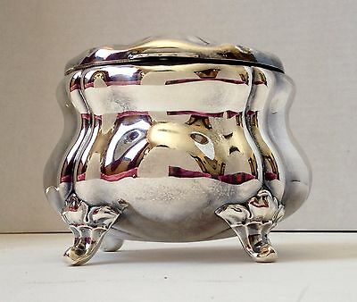 OTTO WOLTER Jugendstil Footed Sugar or Tea Box, Signed, 800 Silver, Germany